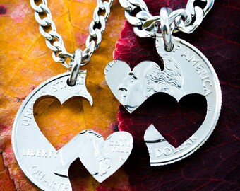 Double Heart Necklaces, Couples jewelry hand cut coin