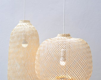 Bamboo Pendant Light, Repurposed Fish Trap Ceiling Lamp, Asian Oblong/Round Woven Bamboo Hanging Lamp, Bohemian Décor Chinese Lantern / PL05