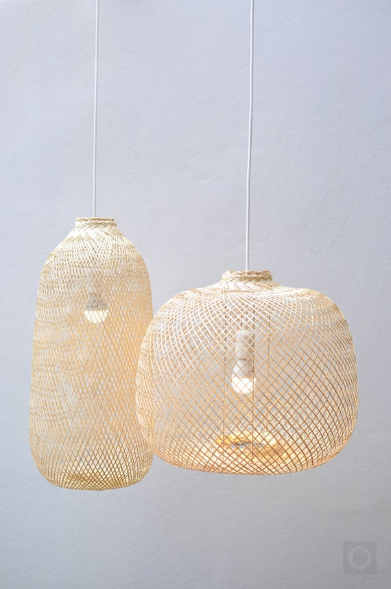 Bamboo Pendant Light, Repurposed Fish Trap Ceiling Lamp, Asian Oblong/Round Woven Bamboo Hanging Lamp, Bohemian Décor Chinese Lantern / Pl05 by Etsy