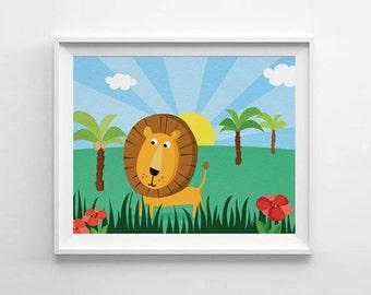 Lion nursery decor, bedroom decor, kids room wall art print, Nursery Art, Children Decor, kids room decor, kids room art, Baby shower gift