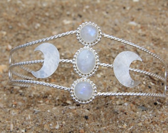 Queen Choker: Sterling Silver Choker, Moonstone Choker, Silver Necklace, Moonstone Necklace, Boho Choker, Statement Choker