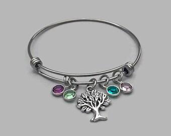 Family Tree Charm Bracelet, Family Tree Bangle, Family Tree Bracelet, Tree Of Life, Stainless Steel Bangle, Swarovski Birthstone Crystal