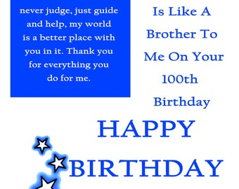 Friend like aBrother 100 Birthday Card with removable laminate