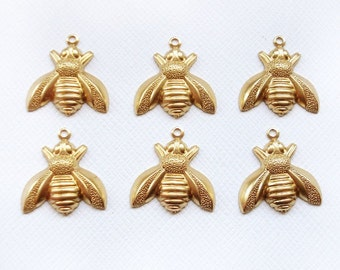 6 Raw Brass Bee Charms