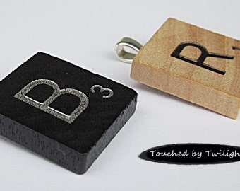 Scrabble Initial Pendant-- Your Choice of Black or Classic Woodgrain Letters