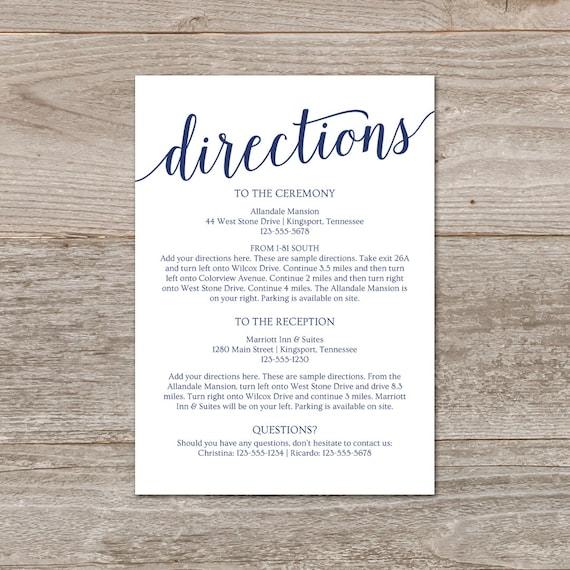 Directions card wedding wedding directions template navy stopboris Images