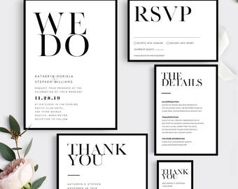 Printable Wedding Invitation Template. Modern Wedding Invitation Set. Printable Wedding Invitation Set, Minimalist Wedding Invitations Set