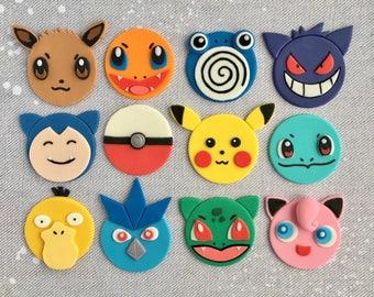 12 Pokemon Fondant Cupcake Toppers (Pikachu,Jigglypuff,Snorlax,Charmander,Bulbasaur,Eevee,Psyduck,Gengar,Poliwhirl,Articuno,Squirtle)