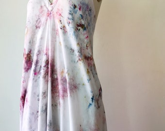 NEW Hand Dyed Halter Dress in Mother of Pearl, Rayon,  Anna Joyce, Portland, Or, IN STOCK