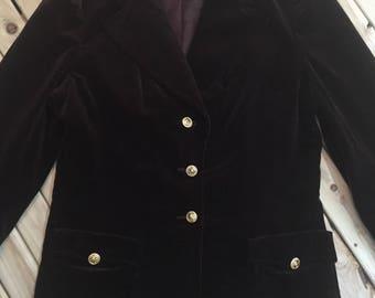 Wide Collar Velvet Blazer with Gold Buttons