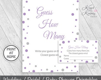 70% OFF - Guess How Many - Baby Shower Games - Guess How Many Sign - How Many Are There Tickets - Printable - 5x7 - Lavender Gray - 17-22