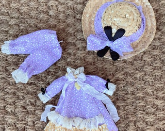 Blythe doll dress set hat bloomers Victorian