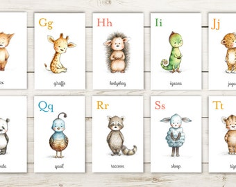 Alphabet flash cards - Animal alphabet card set - INSTANT DOWNLOAD - Printable - Nursery wall cards - ABC cards - Wall cards - Digital