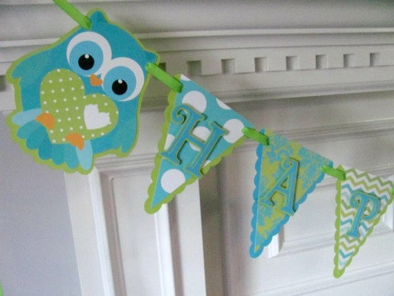 Happy Birthday Banner, Turquoise and Lime Green, Owl Banner