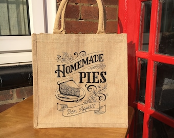 """Tote or Lunch Bag Small Made from Sustainable Eco Friendly Jute, Embroidered in Black """"Homemade Pies"""""""