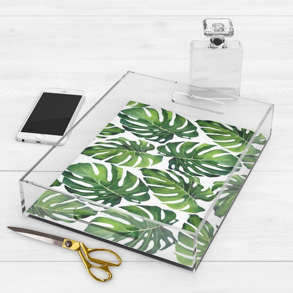 Monstera Tropical Leaf Lucite Tray