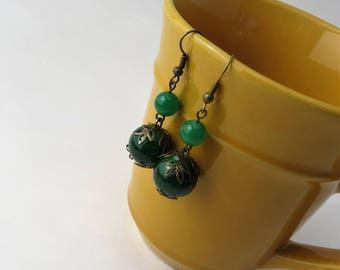 Dark Green Earrings Boho, Hunter Green Earrings Vintage, Beautiful Handmade Earrings Dangle, Handmade Jewelry Earrings, Green Earrings Dark