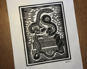 death and snake linocut
