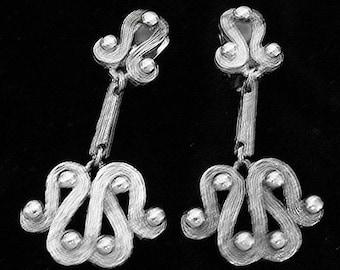 Designer ABSTRACT Modren Silver dangle Vintage Earrings signed