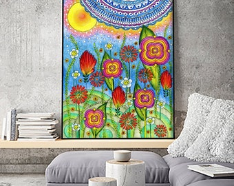 "SALE! Large Flowers Art Print 24""x34"". Flower painting. Watercolour"