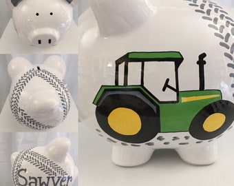 Personalized Large Piggy Bank Green Tractor , Construction , Ring Bearer , 1st birthday, christenings, communions, Baby Shower Gift