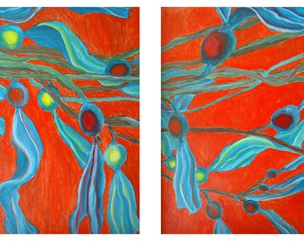 Twin Blue Seaweed on Orange Abstract A and B prints of an original acryclic painting by Victoria Wright