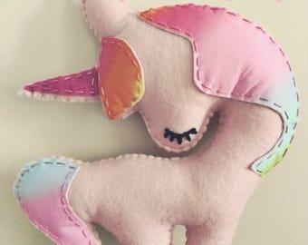 Unicorn Stuffed Animal, Felt Hand Sewn