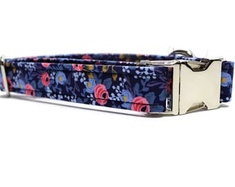 Navy and Pink Floral Dog Collar | Your choice of metal buckle or plastic buckle | Floral Dog Collar | Summer Dog Collar | Girl Dog Collar