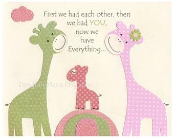 Giraffe Children's Wall Art with Quote, Children's Art Print, Nursery Decor, kids room art, nursery art, nursery print