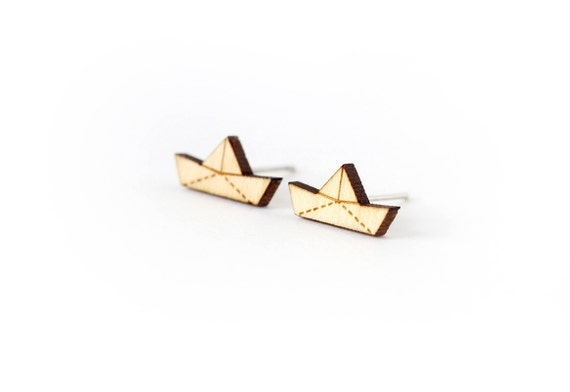 Origami boat studs - posts - tiny earrings - mini jewelry - graphic jewellery - lasercut maple wood - hypoallergenic surgical steel