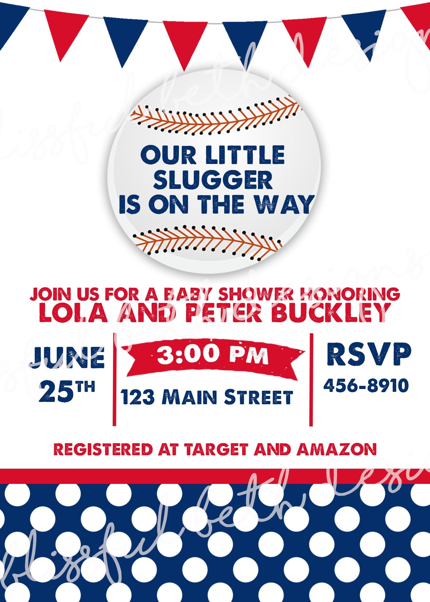 LITTLE SLUGGER SHOWER, Baseball Themed Baby Shower Invitation ...