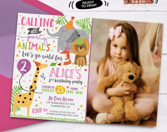 Girl Party Animal Invitation Calling All Party Animals Zoo Birthday Photo Invitation Party Animal Birthday Zoo Girly Safari Birthday Invite