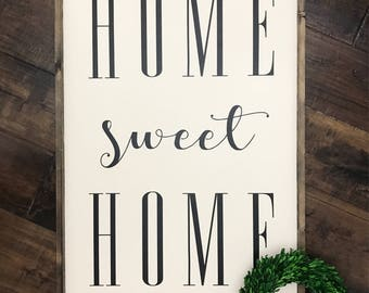 XL Home Sweet Home sign | Wood Sign | Wood Framed Sign | Farmhouse Sign | Farmhouse Style | Farmhouse Decor | Lets Be Homebodies | Home Deco