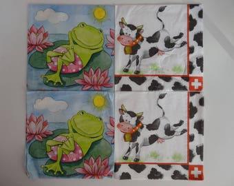 "4 ""animal"" themed paper napkins"