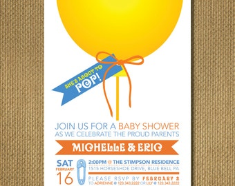 PRINTABLE |  Pop! - Baby Shower Invitation, Personalized Printable Invitation, You Print, 5x7