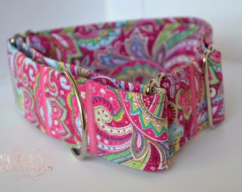Martingale Style Collar || Pink Paisley