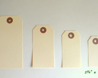 "25 Small 2 3/4"" x 1 3/8"" Manila Tags, Parcel Tags, Hang Tags, Kraft Reinforced Holes, Shipping Tag, Gift wrapping, Scrapbooking"