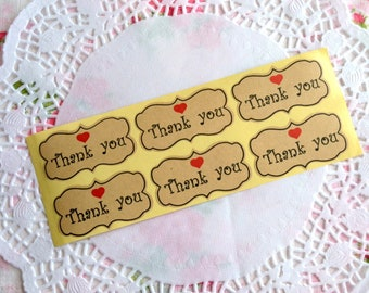 Thank You Label, Brown Kraft Sticker, Thank You Sticker, Wedding Sticker, Envelope Seals, Product Label, Gift Wrapping, Thank You Label
