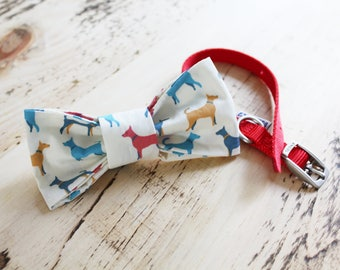 Multicoloured Dog design handmade slip on dog bow tie