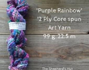 Hand Spun 'Purple Rainbow' Core Spun 2 ply  Chunky Art Yarn 99 g 22.5 m