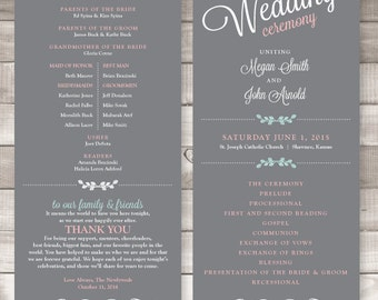 Wedding Programs  | Ceremony program  | Double Sided Programs - Style 27 Elegant Gray Collection