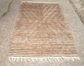 Vintage Mid Century Large 50x72 Fabulous Neutral Stripe Woven Wool Rug