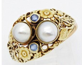 Antique Arts & Crafts Ring 14k Gold Pearls Topaz American Art Deco (#6137)