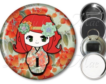 Kokeshi Doll Mirror, Kokeshi Doll Refrigerator Magnet, Bottle Opener Key Ring, Pin Back Button, Makeup Mirror, Orange and Green Japanese