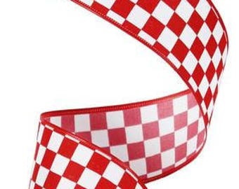 """1.5""""x10yd mini check wired ribbon, red wired ribbon, white wired ribbon, red and white mini check wired ribbon, wired ribbon, ribbon"""