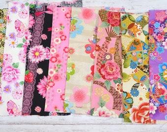 Japanese Fabric Kimono Fabric Scrap 8 pieces sc06