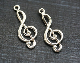 Silver treble clef charm Sterling silver treble clef pendant with loop music charm 925 silver, 24mm - 1pc - F362