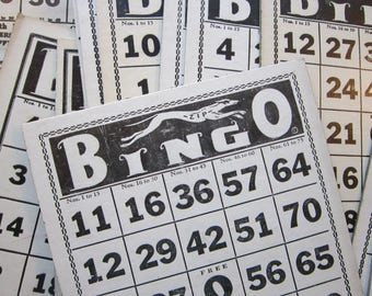5 vintage BINGO cards - ZIP Greyhound series - chipboard Bingo cards
