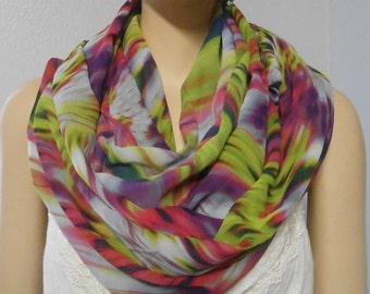 Infinity Scarf  Artsy Colorful Tie Dye Looking