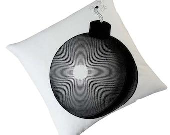 "Vintage Bomb silk screened cotton canvas throw pillow 18"" black on ivory"